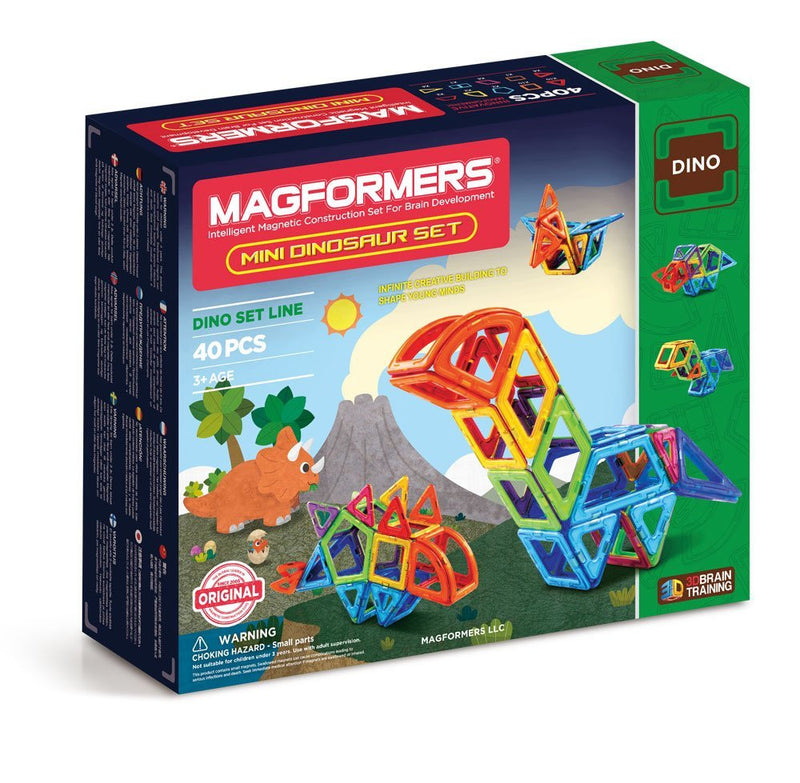 Discover prehistoric animals and create your own Mini Stegosaurus, Triceratops, Pteranodon and more with Magformers Mini Dinosaur 40Pc Set! Dino enthusiasts will have endless hours of fun using 10 geometric shapes to follow along and build 6 different dinosaurs.