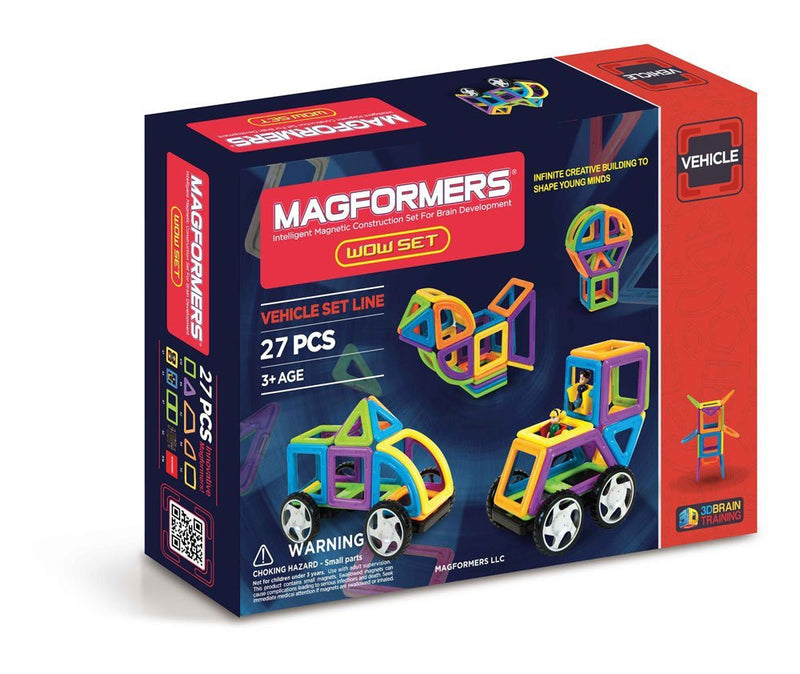 The 27 Pc WOW Set from MAGFORMERS comes in all-new Neon Rainbow opaque colors. Place your shapes on 30 activity cards and perform MAGFORMERS pull-up tricks to create cars, animals, stars and more! Once your design is complete clip in MAGFORMERS wheels and take your ideas for a ride!