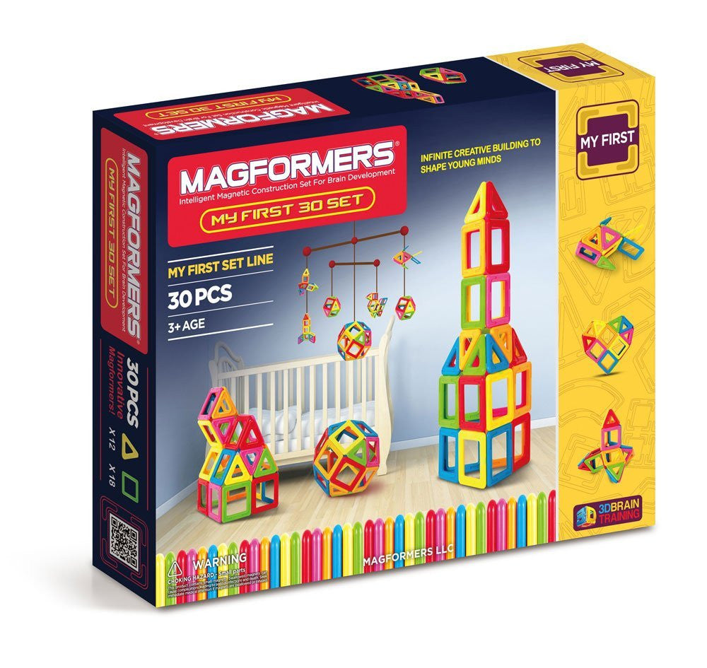 The perfect introductory set for imaginative creators. Learn 6 different colors, 2 geometric shapes and all 6 MAGFORMERS building techniques. Create towers, houses and the MAGFORMERS Magic Ball. Each geometric shape contains magnets that never reject, so you'll always hear the MAGFORMERS click. When playtime is over, use the magnetic power to simply stack and store.