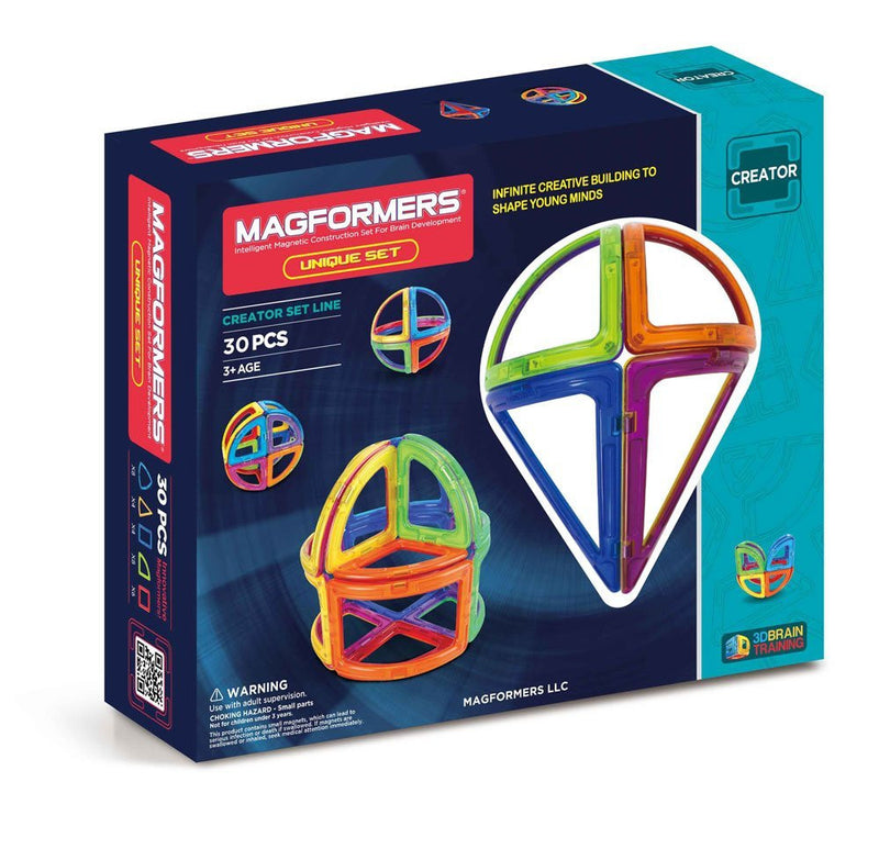 Design and build organic structures with curved 3D magnetic shapes in the all-new Unique Set from MAGFORMERS. Use arches, cones and sphere sectors to build diamonds and towers and submarines! Combine your design with all MAGFORMERS shapes and see where your imagination will take you!.