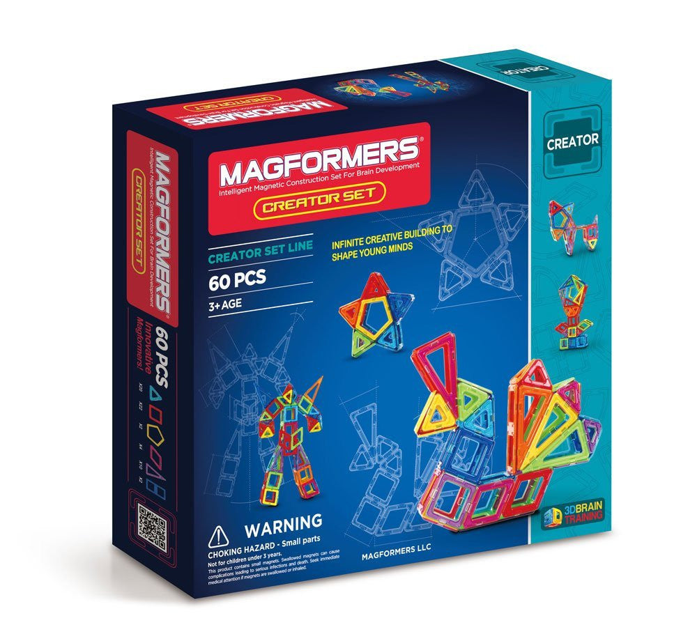 Explore and discover building with MAGFORMERS with the Creator set. Use the included play mats to lay ideas flat and then roll, pull-up, transform, fold combine and wall to create exciting 3D ideas. Use 6 different geometric shapes to build animals, flowers, towers and much more.