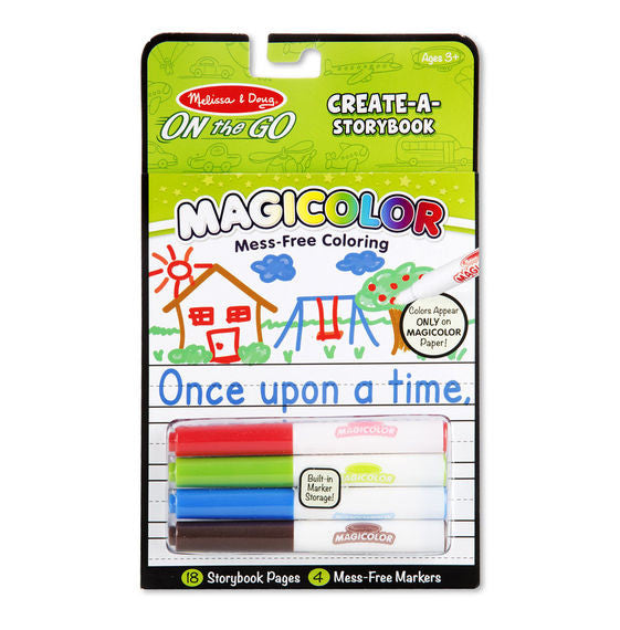 Our amazing Magicolor technology lets children pick a marker, fill a scene, and see colors magically appear on the page--all completely mess-free! Ink in the four included markers is invisible anywhere else but creates instant color on 18 storybook pages! As a bonus, the spiral-bound book's all-inclusive format comes with handy storage for the markers, making it great for travel!