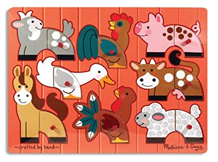 Melissa & Doug - 3267 | Farm Mix 'n Match Peg Puzzle