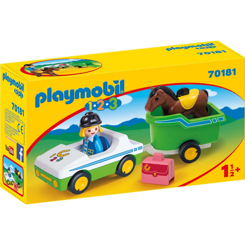 Playmobil - 70181 | 1-2-3 Car With Horse Trailer