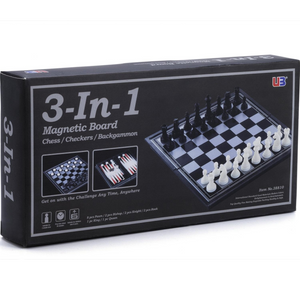 Playwell - 82947 | 3-in-1 Magnetic Board - Chess/Checkers/Backgammon