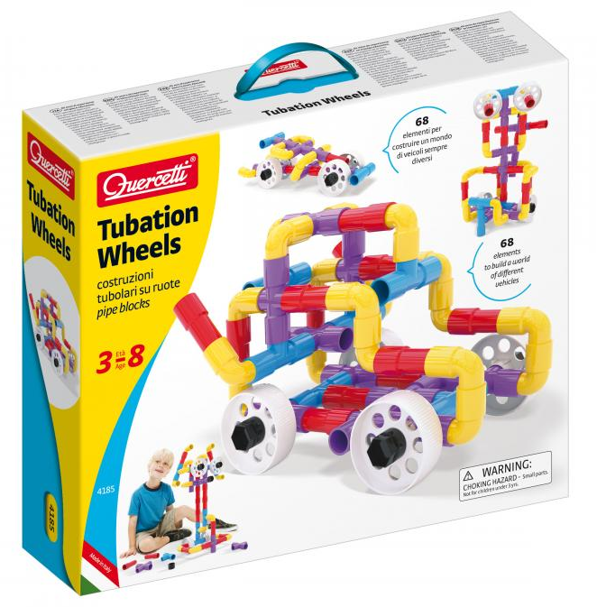 Quercetti - 4185 | Tubation Wheels: Pipe Building Blocks