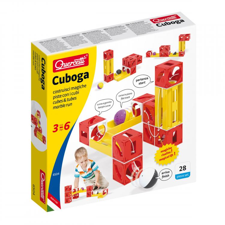 Quercetti - 6504 | Cuboga: Cubes and Tubes Marble Run, Basic