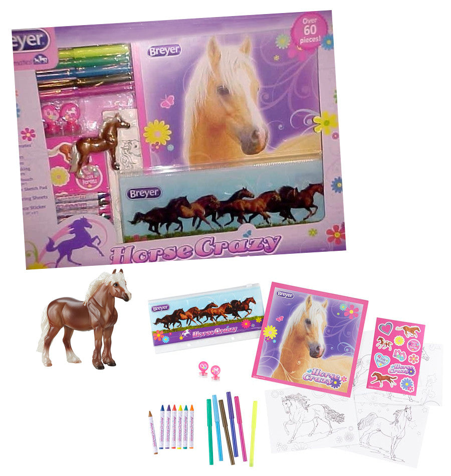 Perfect for the horse-loving child, this set is the perfect summer activity or back-to-school set! Includes a Stablemates horse, Horse Crazy pencil case, four coloring sheets, eight crayons, six markers, 30-page sketch pad, two self-inking stamps and 11 stickers.