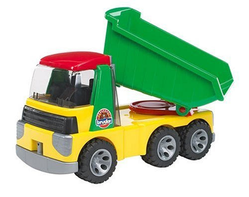 Roadmax trucks are designed specifically for younger kids! This colorful dump truck is simple to operate and features a swiveling truck bed that tilts to dump its contents, soft rubber wheels and an enclosed plastic cab that opens so that kids can seat their play figures inside.