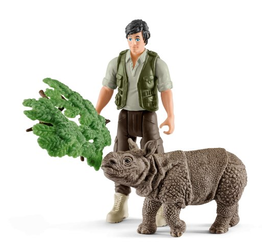 Schleich - 42428 | Wild Life: Ranger And Indian Rhinoceros Starter Set