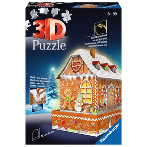 Ravensburger - 11237 | Christmas Gingerbread House Night Edition 216 Piece 3D Jigsaw Puzzle LED