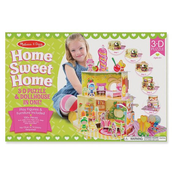 Take puzzle building to sweet new heights with this dollhouse and puzzle in one! Detailed section by section instructions help kids fit together the more than 100 foam pieces--with no glue or scissors required--into a multi-level, birthday cake-shaped and sweet treat-themed house! The set includes furniture and play figures to use with the sturdy 15-inch high dollhouse for endless hours of play. Pieces and sections are color-, shape-, and number-coded for easy but entertaining assembly. The 3-D puzzle helps