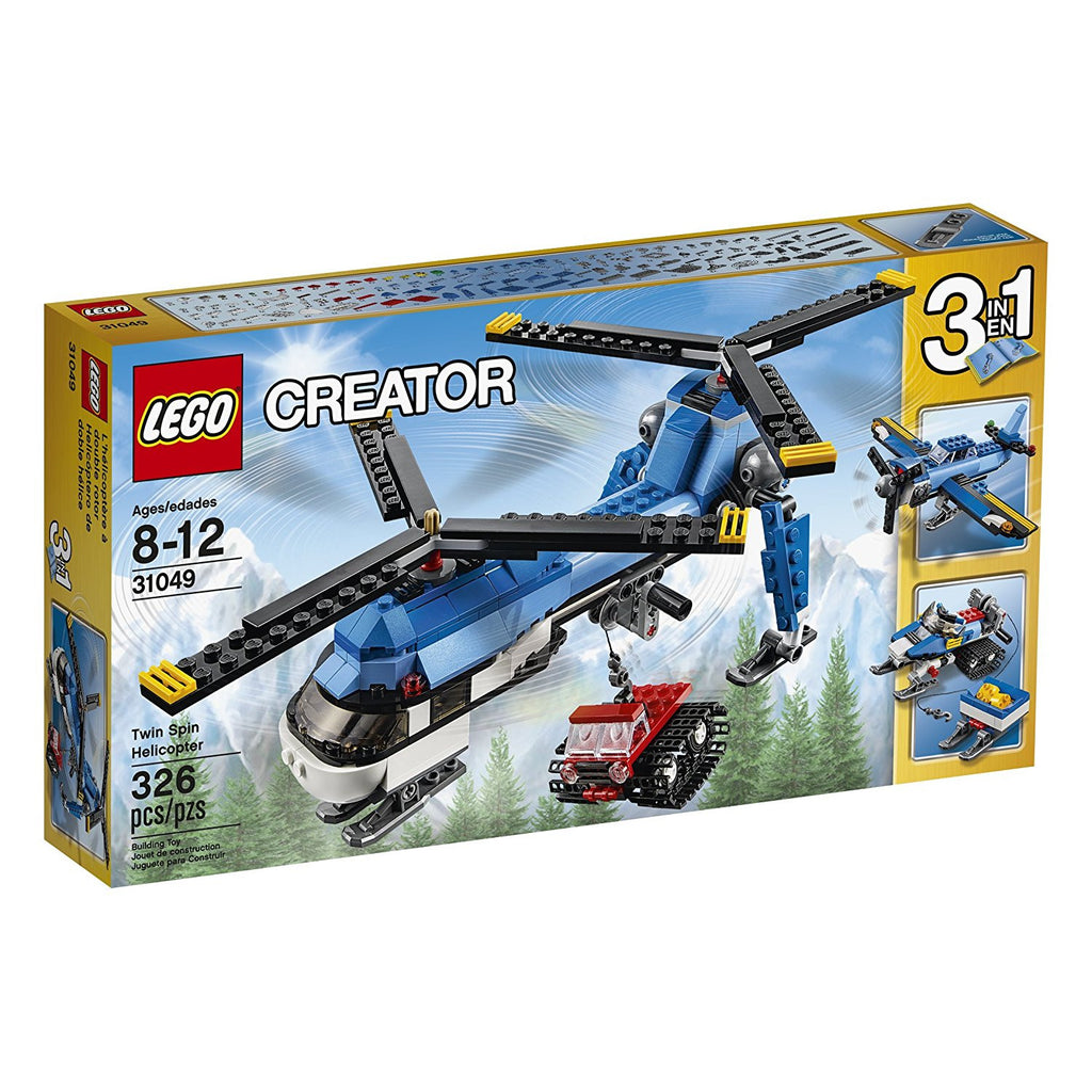 Power up the twin spin rotors of this awesome machine and take to the skies. Lower the winch, hook up the tracked snow cat vehicle and airlift it to its destination. Perform perfect landings on ice and snow with the helicopter's cool skis the 3-in-1 LEGO creator twin spin helicopter features a high-tech design with a light-blue and white color scheme and can be rebuilt to create a snowmobile with functioning winch or a single-engine airplane with spinning propeller.