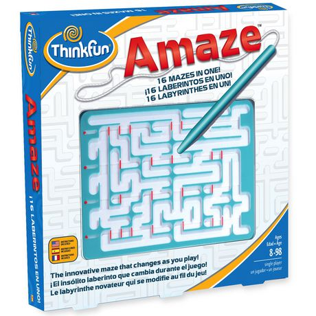 ThinkFun - 358204 | Amaze: Puzzle Game - 16 Mazes in 1