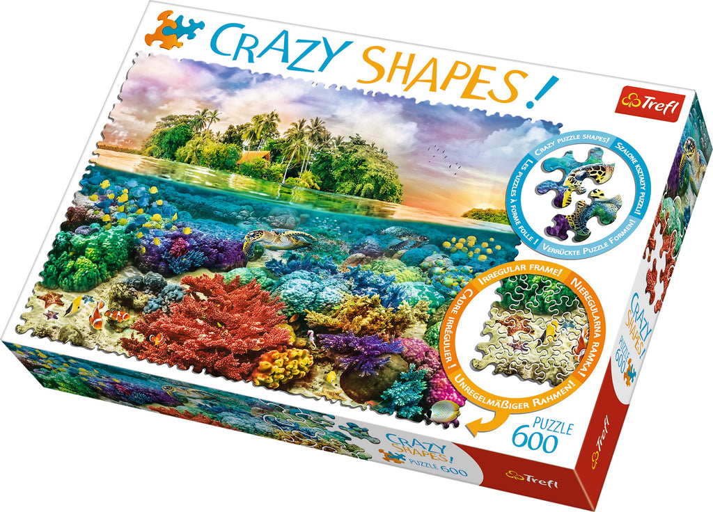 Trefl - 11113 | Crazy Shapes: Tropical Island - 600 PC Puzzle