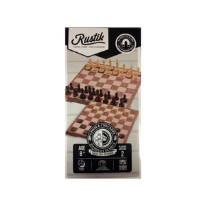 Rustik - 2202 | 2 in 1 Magnetic Folding Peach Wood Chess and Checkers set