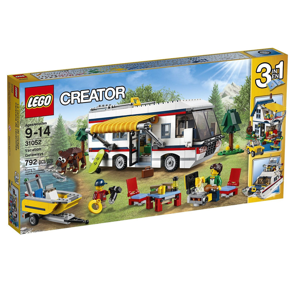 Enjoy travelling adventures with this amazing 3-in-1 LEGO Creator set, featuring an awesome camper packed with everything you need for the perfect vacation, including a luxurious interior with toilet, fold up bed, kitchen, sofa and TV. Unpack the foldout table and chairs from the camper's roof, extend the awning and enjoy a peaceful barbecue. Then take the motorboat for a spin, try some bear spotting, or study the map and plan your next journey in the wonderful camper! Rebuild to create a perfect summer hom