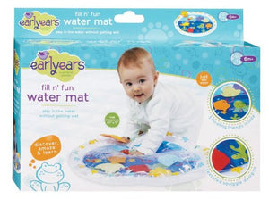 "The play mat includes 6 fun friends sandwiched inside the water chamber...starfish, octopus, sea horse, turtle and 2 fish. A fun activity to encourage tummy time! Simply fill the inflatable edge of the mat with tap water and kids can have hours of tactile and visual fun! The play mat is made from heavy gauge plastic which resists leaks and tears. Measures 20"" x 17"" It folds flat when the water and air are let out which makes it a great take-along toy that easily fits into a diaper or toy bag. All Early ears"
