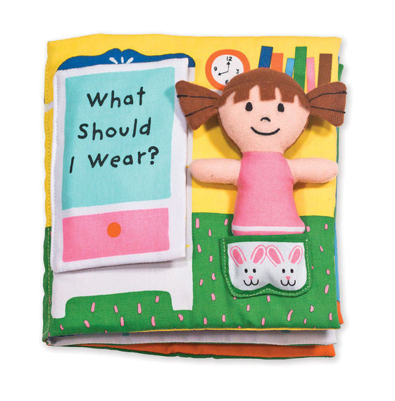 What should dolly wear for a beach trip, a dance recital, or a snowy day? Move her from page to page in this crinkling, lift-the-flap, dress-up activity book to find the perfect outfit for any occasion. Melissa & Doug K's Kids cloth books are durably constructed to last through story time, playtime, and the washing machine, too.