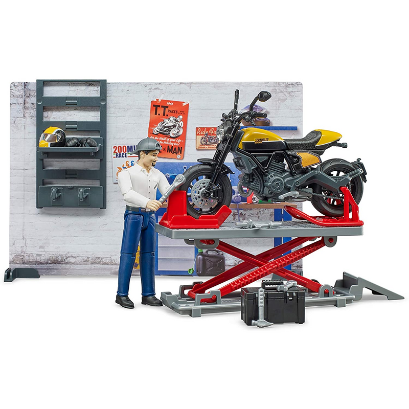 Bruder - 62102 | Ducati Full Trottle Motorcycle Service with figurine