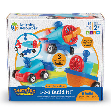 Learning Resources - 1-2-3 Build It: Car, Plane, Boat Set
