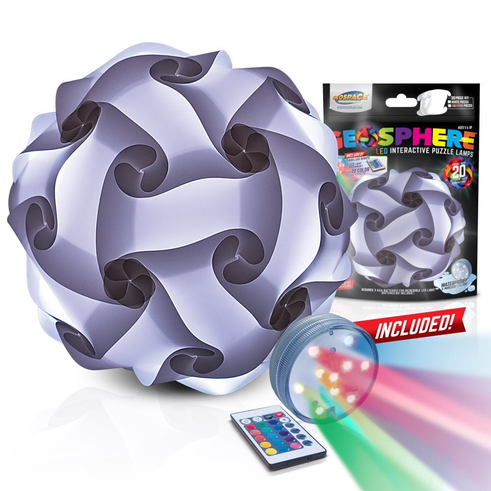 Geospace - 14003 WHITE | Geosphere - 12-Inch LED Puzzle Lamp Kit & Wireless Remote (White)