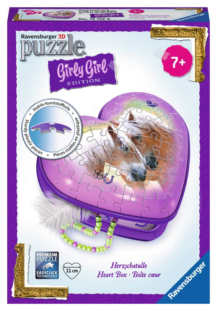 Ravensburger - 12119 | Girly Girl Edition: Horse Heart Case (54 Piece Puzzle)