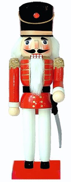 10 inch Nutcracker with Red Jacket. This traditional red and black nutcracker soldier is similar to the ones that have been made in the heart of Germany for more than 500 years. His crisp red jacket, black hat and white dress pants look all ready for inspection and he'll add an Old World Christmas charm to your mantel or under your holiday tree.