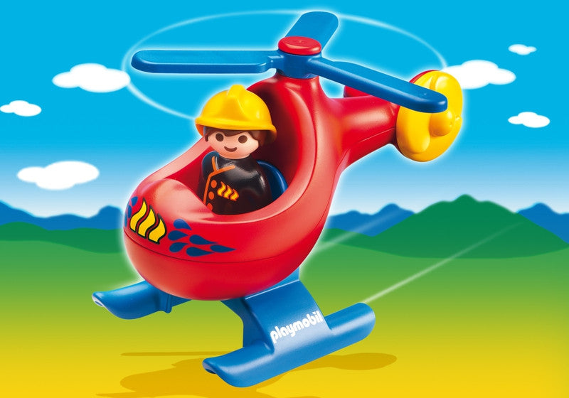 Playmobil 1-2-3 Fire Rescue Helicopter- 6789