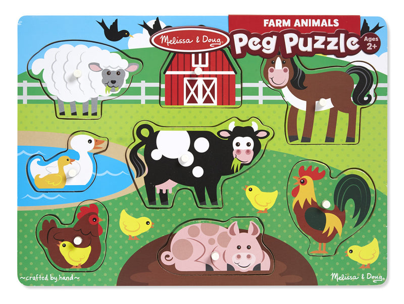Melissa & Doug 19050 Wooden Peg Puzzle Farm Animals