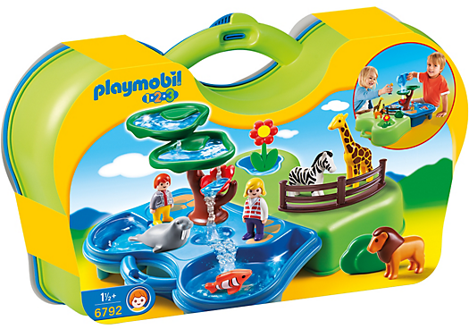 Enjoy a day of fun at the Take Along Zoo & Aquarium. With a bright and colorful design and large, rounded pieces, this PLAYMOBIL 1.2.3 set is ideal for toddlers. Take a stroll around the zoo to see wildlife before heading over to the aquarium. Once there, fill the treetop canopy with water and watch as it flows through the leaf platforms and into the petal cup before pouring into the pool. When playtime is over, snap the carrying case together and take it on the go. Set includes two figures, giraffe, lion,