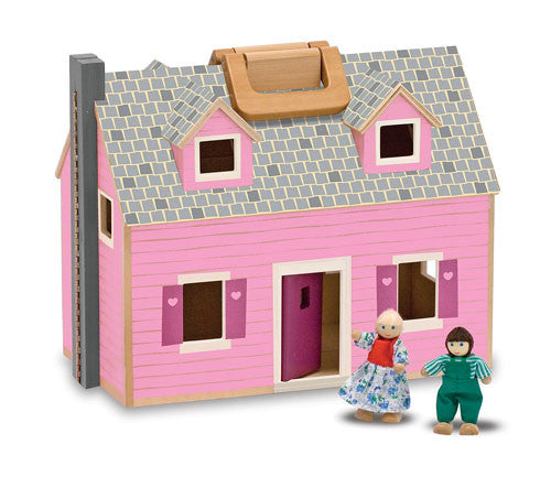 Melissa & Doug 13701 Fold And Go Wooden Dollhouse Pink
