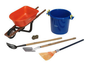 Boxed set includes broom, shovel, pitchfork, muck bucket, and wheelbarrow. Also includes imitation manure for the most realistic horse stall ever!