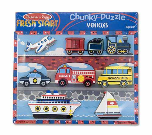 Melissa & Doug 13725 Chunky Wooden Puzzle - Vehicles
