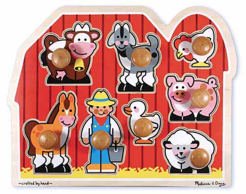 Melissa & Doug 13391 Large Peg Puzzle - Farm Animals