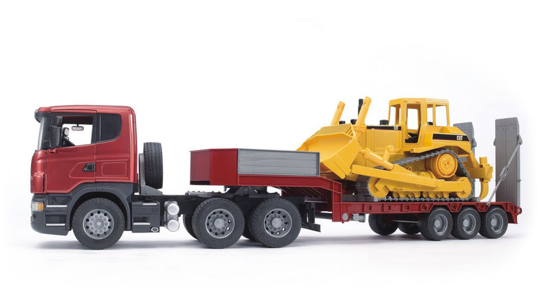 Bruder Scania R-Series Truck With Low Loader And CAT Bulldozer - 03556