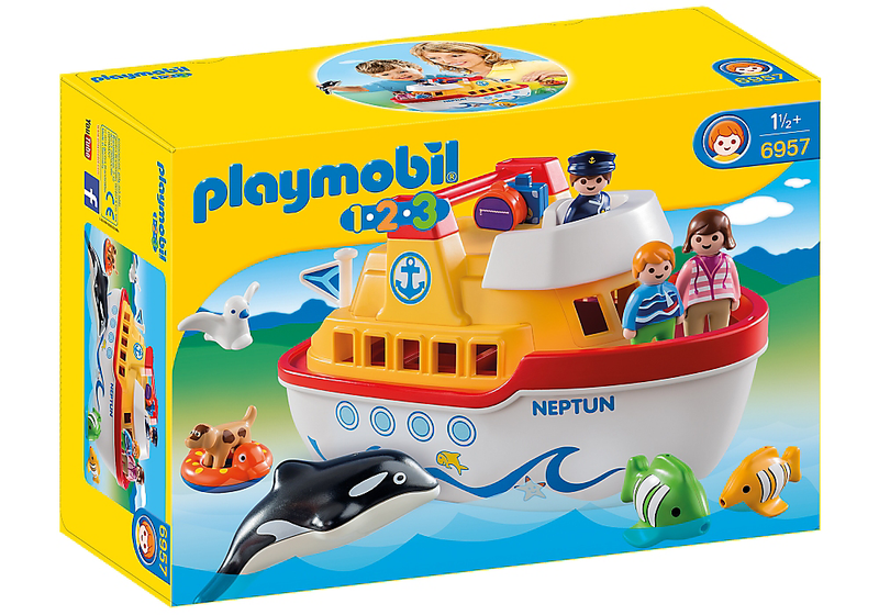 All aboard for a leisurely cruise on the PLAYMOBIL 1.2.3 Take Along Ship. Enjoy the view on the upper deck, rest in your cabin, and watch the floating fish and Orca whale bob alongside the ship. When playtime is over, store the pieces inside the ship, snap the top deck on and grab the carrying handle to take the ship with you wherever you go.