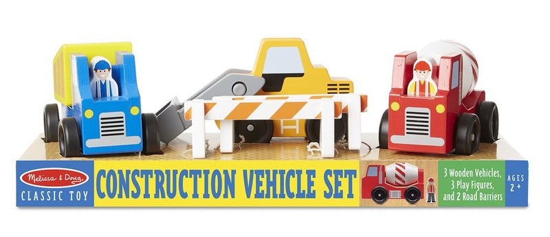 Construction vehicles set wooden