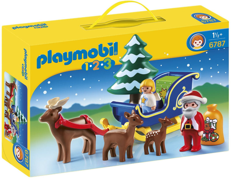 Help Santa Claus deliver gifts this holiday season with the Reindeer Sleigh. With a bright and colorful design and large, rounded pieces, this PLAYMOBIL 1.2.3 set is ideal for toddlers. Set includes Santa figure, angel figure, three reindeer, sleigh, and bag of gifts.