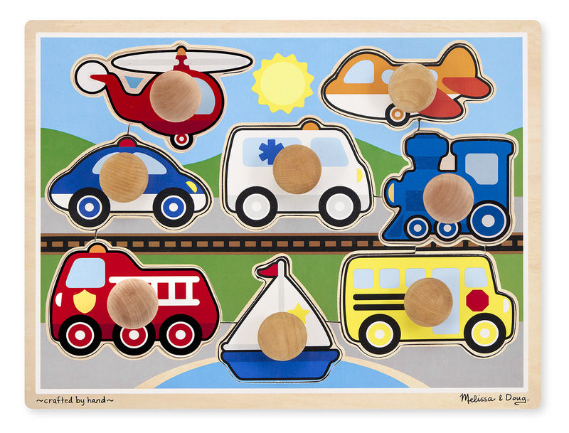 Melissa & Doug 8980 Jumbo Knob Puzzle - Vehicles