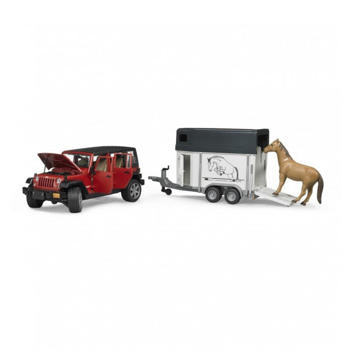Bruder Jeep Wrangler Unlimited Rubicon With Horse Trailer & 1 Horse - 02926