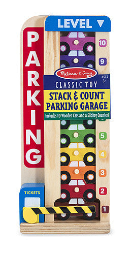Melissa & Doug 15182 Stack And Count Parking Garage, Wood