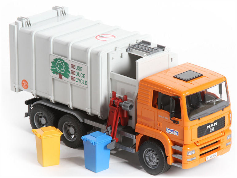 Bruder MAN Side Loading Garbage Truck Orange - 02761