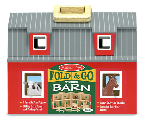 Melissa & Doug 13700 Fold And Go Wooden Barn Red