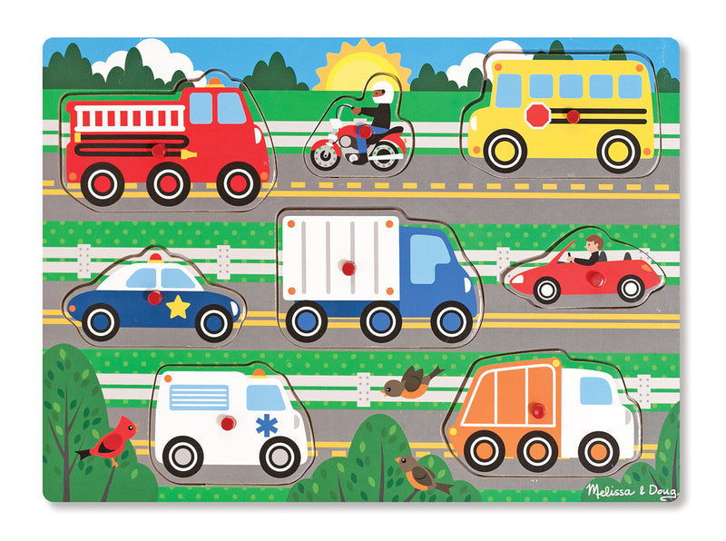 Melissa & Doug 19051 Wooden Peg Puzzle Vehicles