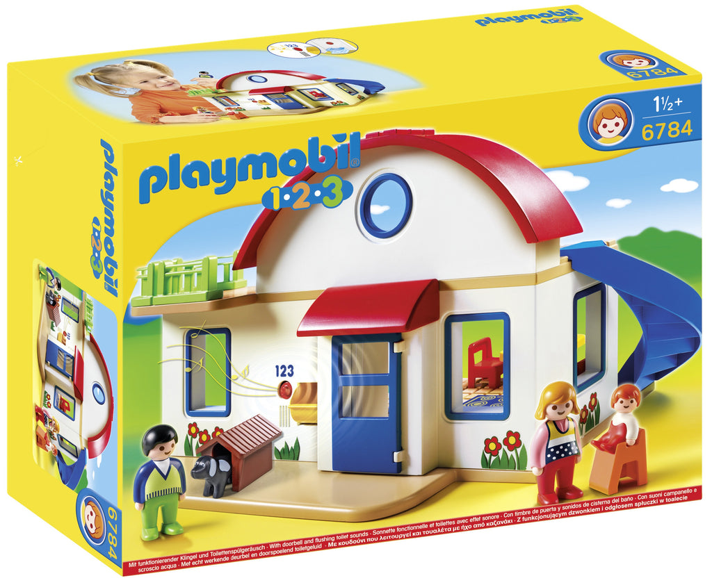 Furnished with kitchen, dining place, bedroom and bath.  Make yourself comfortable in this warm and cozy Suburban Home. With a bright and colorful design and large, rounded pieces, this PLAYMOBIL 1.2.3 set is ideal for toddlers. The two-story home comes with a fully-furnished kitchen, bathroom and bedroom and has a grid layout that makes securing furniture to the floors easy. Plus, kids will love the functioning doorbell and sound effects. Set includes three figures, bed, cradle, dog, doghouse, table and ch
