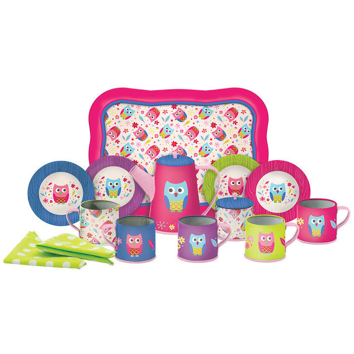 Ambi Owl Tea Party Deluxe Tin Tea Set