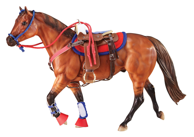This colorful set stands out from the rest! The saddle, bridle, splint boots, bell boots and saddle pad come in red and royal blue.