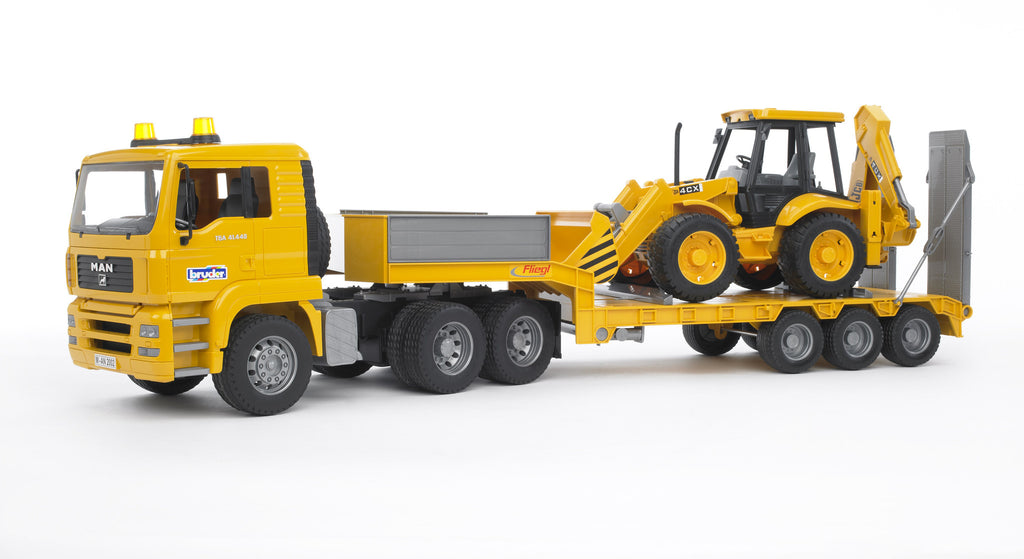 Bruder MAN TGA Low Loader Truck With JCB 4CX Backhoe Bruder - 02776 | Man TGA Low Loader Truck With JCB Backhoe Loader