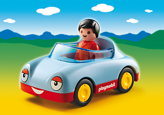 Cruise with the top down in the Convertible Car. With a bright and colorful design and large, rounded pieces, this Playmobil 1.2.3 set is ideal for toddlers. Kids will love racing this car around the playroom floor. Set includes one figure and convertible car.